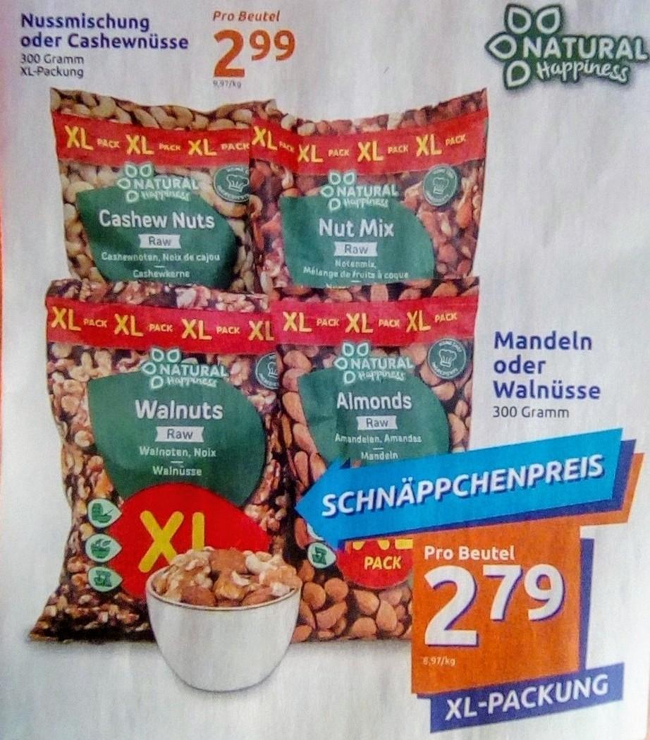 """300g Naturbelassene Nüsse """"Natural Happiness"""", div. XL Beutel mit Mandeln, Cashews, Walnüssen oder Nussmischung (ab 9,30€/kg)"""