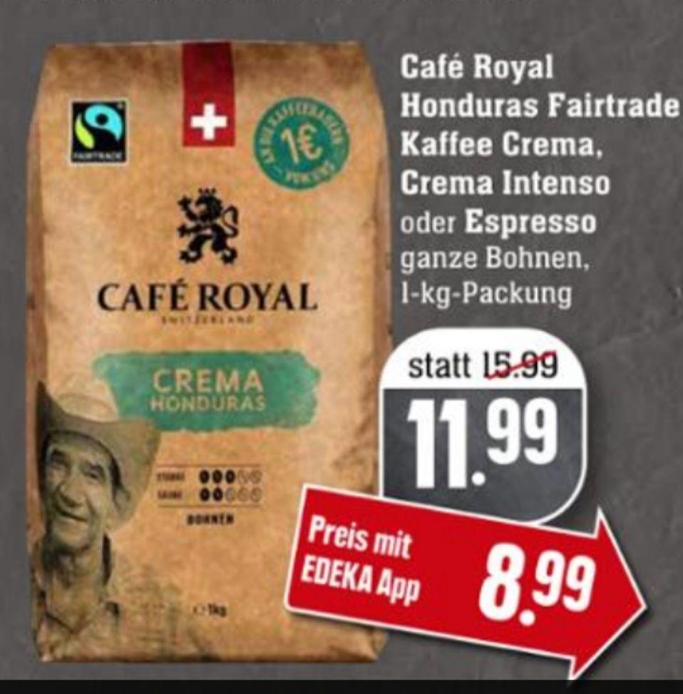 [Edeka Südwest / Genuss+ App] Cafe Royal Crema Honduras (verschiedene Sorten) Fairtrade Kaffee 1kg + 1x Rama gratis (+ Angebot Bergkäse)