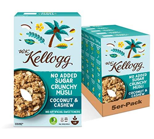 Amazon Prime: 5x400Gramm Packung Kellogg Crunchy Müsli Coconut & Cashew, Müsli ohne Zuckerzusatz , gesamt werden 2 Kilogramm geliefert.