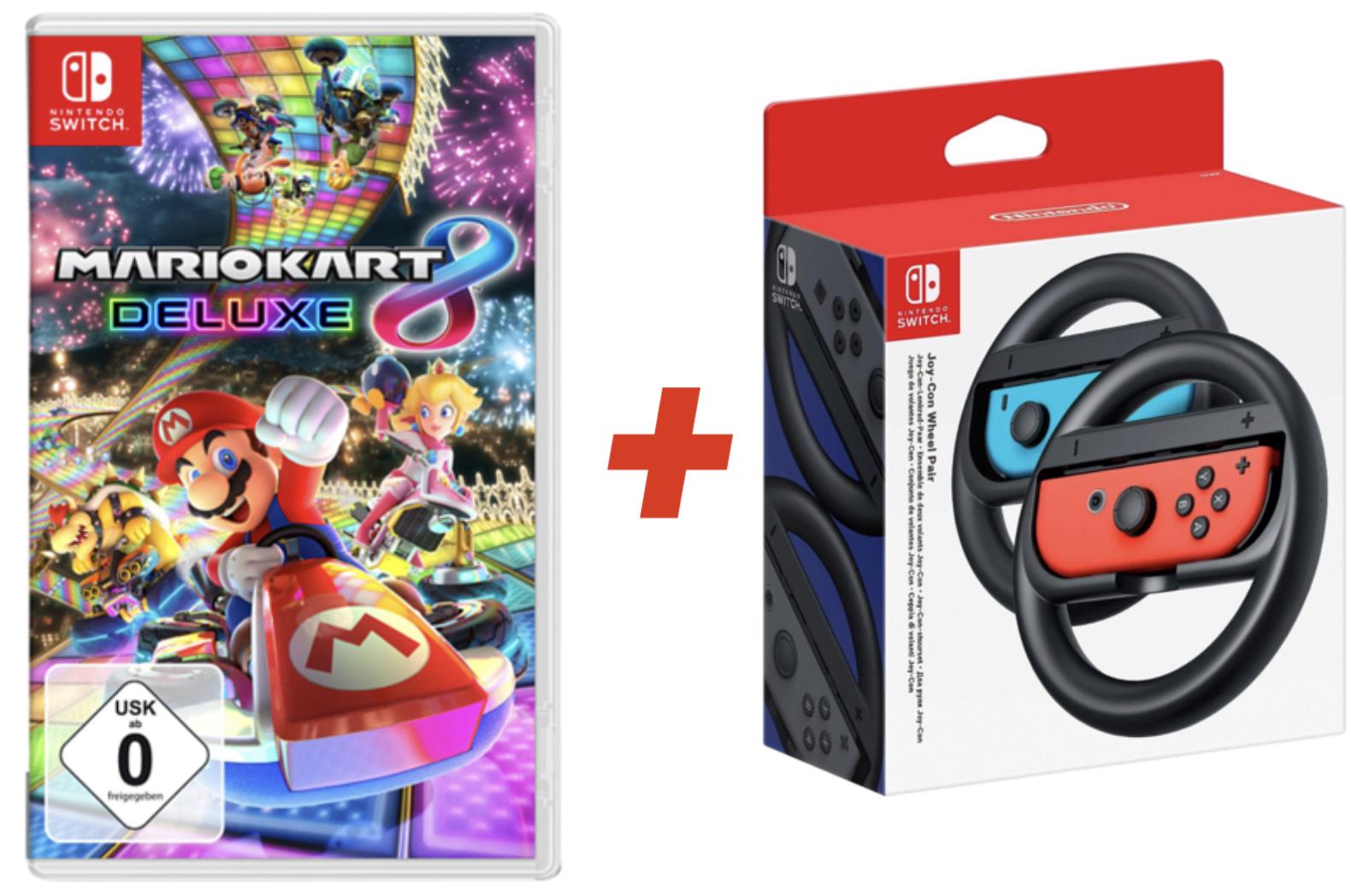 Mario Kart 8 Deluxe + Nintendo Switch Lenkrad für Joy-Cons (Paar) für 49,99€ bei Abholung bzw. 52,98€ inkl. Versandkosten