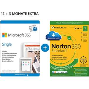 Microsoft 365 Single - 15 Monate | Family für 46,99€ (inkl. Norton 360 Deluxe / McAfee Total Protection 2020)