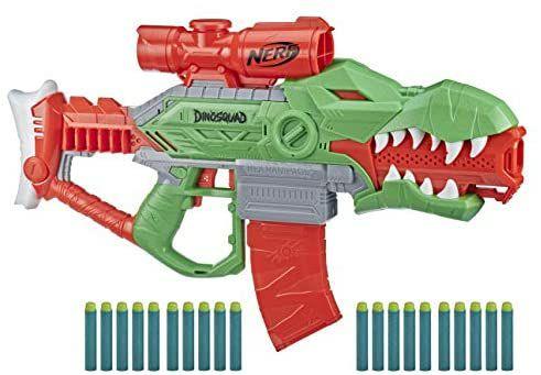 Nerf DinoSquad Rex-Rampage motorisierter Blaster, 10-Dart Clip-Magazin, 20 Nerf Darts und 3 weitere [Prime Day]