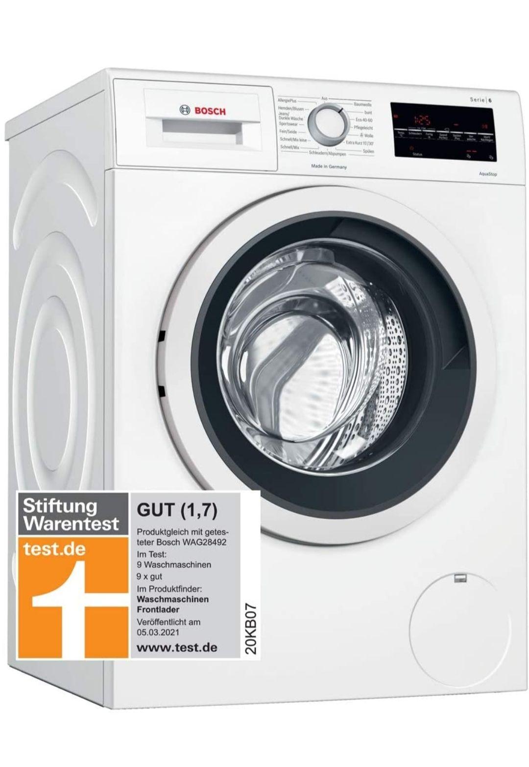 Bosch WAG28400   WAG28492 8 kg Serie 6 Waschmaschine Stiftung Warentest Sieger 2021 [Amazon Prime Day] nur HEUTE 445€