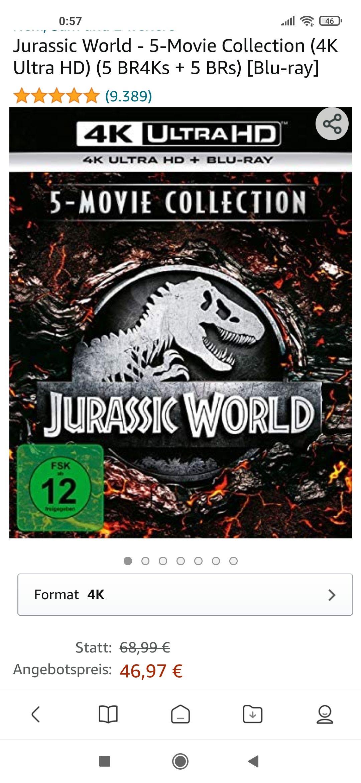 Jurassic World 4K Bluray Box Amazon 44,62