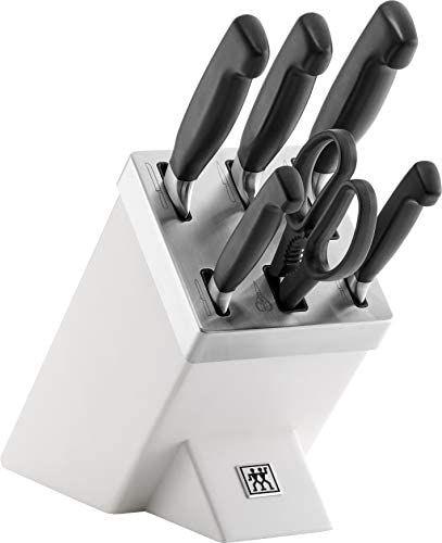 Prime Deal - ZWILLING Selbstschärfender Messerblock, 7 teilig, Weiß, Vier Sterne