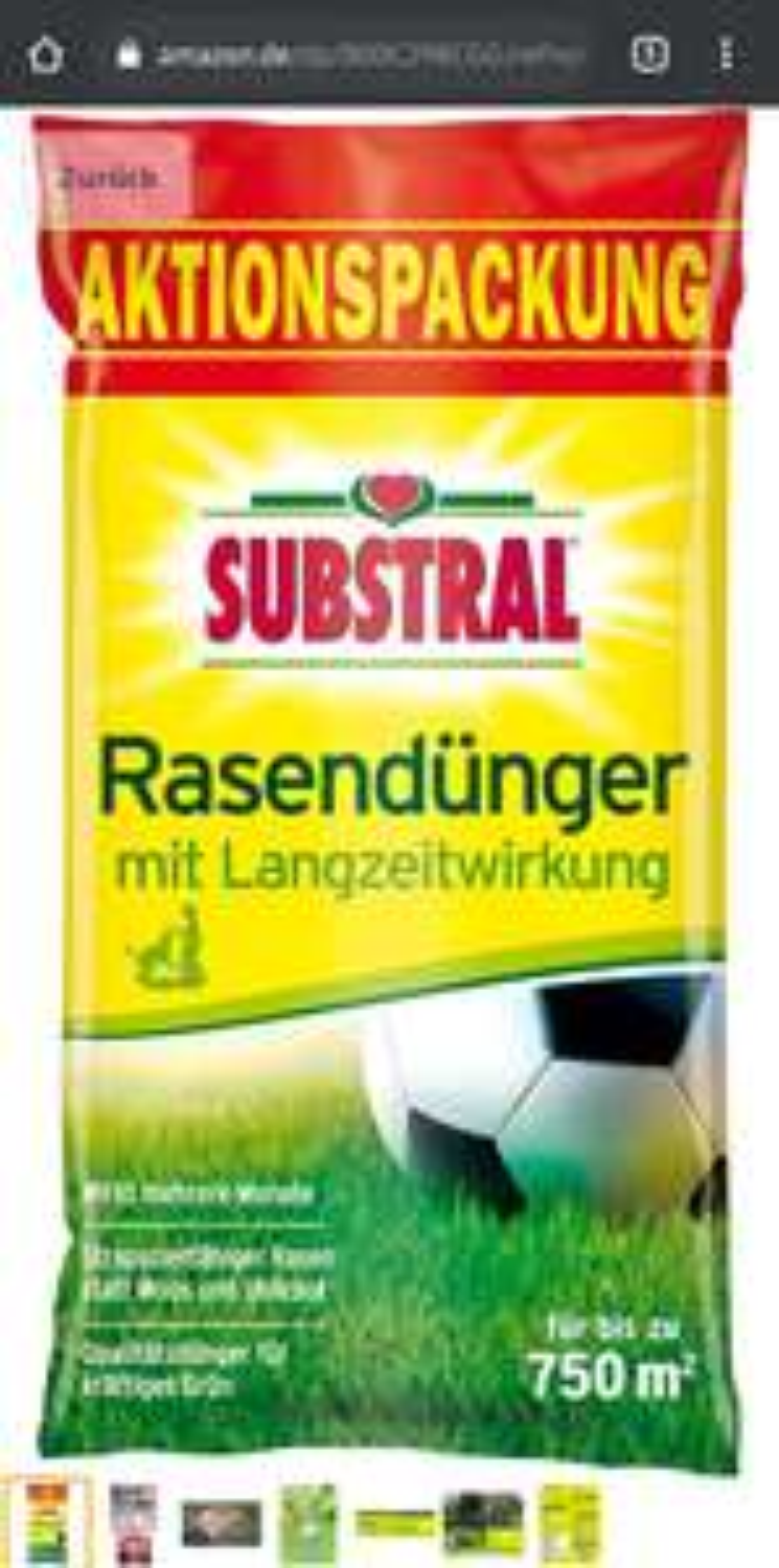 [Prime] Substral Rasendünger 15 kg für 750 m2 inkl. Gratisfußball