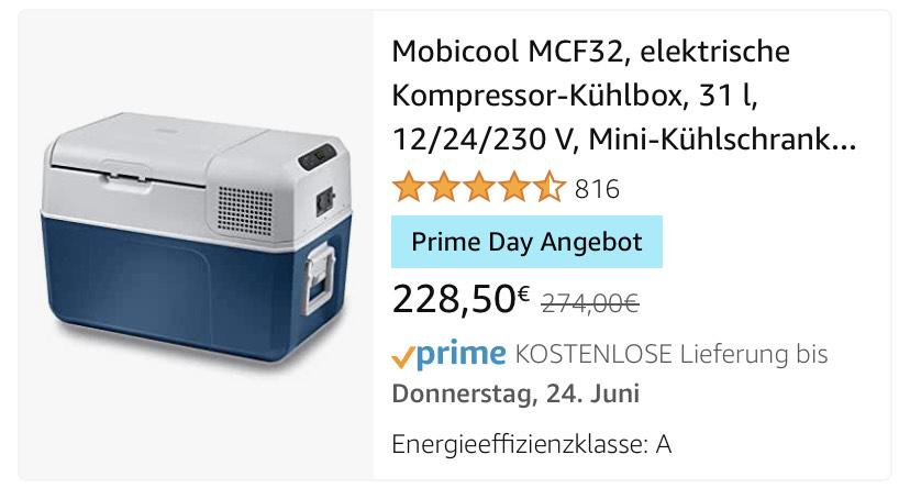 Mobicool MCF32, elektrische Kompressor-Kühlbox