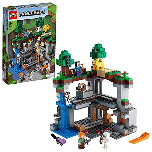 [Amazon Prime-Day] LEGO 21169 Minecraft Das erste Abenteuer Spielset mit Steve, Alex, 2 Skeletten, Katze, Moobloom und Schaf
