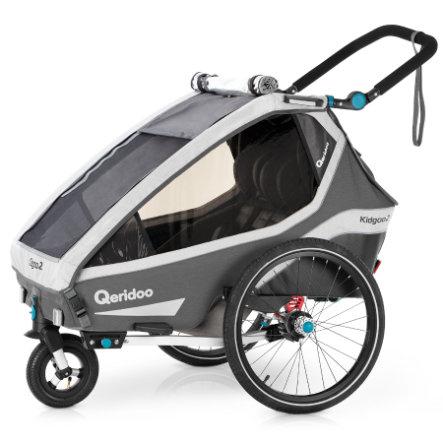 [Babymarkt] Qeridoo® Kidgoo2 Kinderfahrradanhänger in Grau & Petrol
