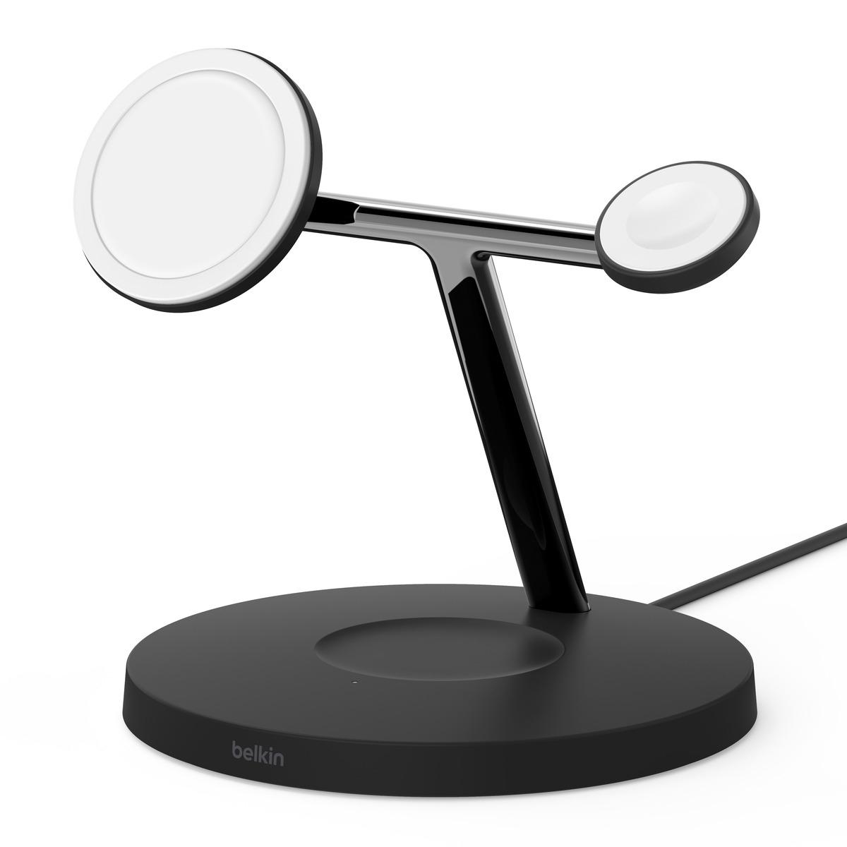 Belkin BOOST CHARGE PRO Drahtloser 3-in-1 Ladeständer Magsafe schwarz oder weiß 15 W für iPhone 12/Apple Watch/AirPods