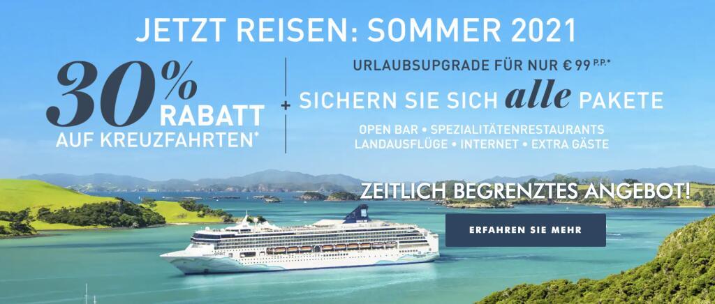 Norwegian Cruise Line = viele Kreuzfahrten knapp 30% günstiger