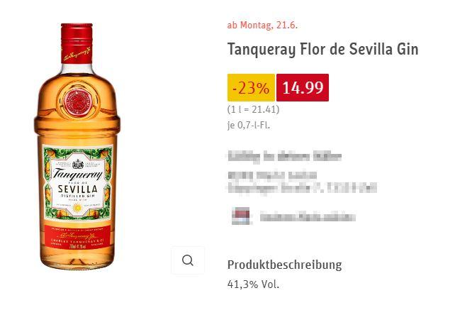 Tanqueray Flor de Sevilla Gin bei Rewe