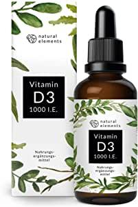 Vitamin D3-1000 I.E. pro Tropfen - 50ml (1750 Tropfen) - In MCT-Öl aus Kokos - Hochdosiert, flüssig