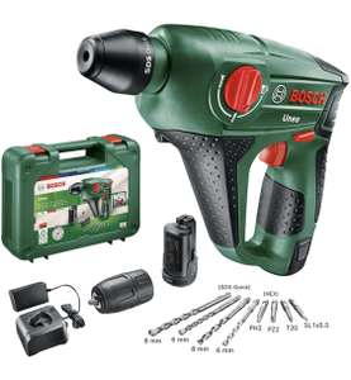 Bosch Akku Bohrhammer Uneo (2 Akku, 12 Volt System, max. Bohrerdurchmesser Beton 10mm, im Koffer)