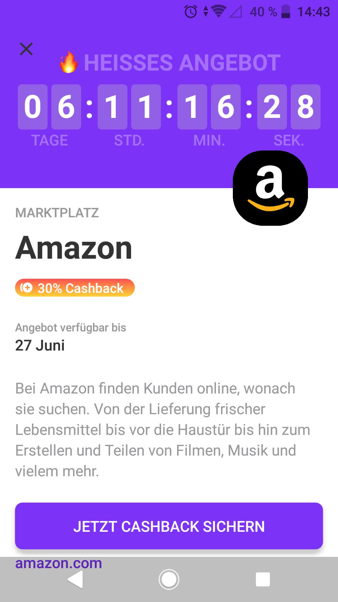 30% Cashback bei Amazon Marktplace personalisiert über vivid super deals bis 27.6 2021