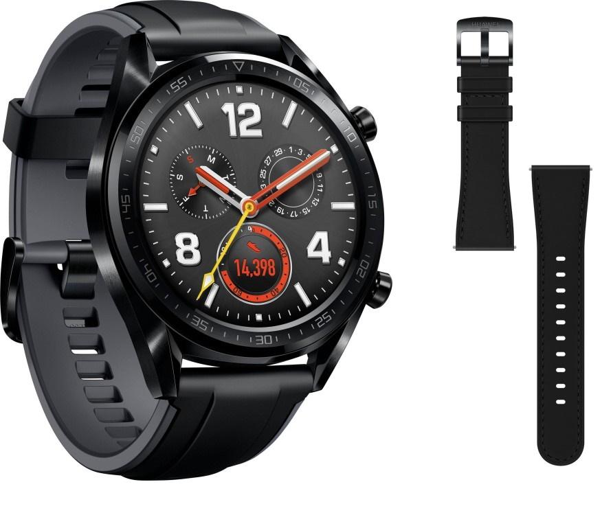 "Huawei Watch GT Sport mit Silikonarmband + zusätzlichem Lederarmband (1.39"", 454x454, AMOLED, BT 4.2, GPS, ~7d Akku, 5ATM)"
