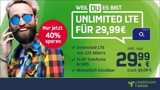 monatl. kündbar - md O2 Free Unlimited Max (225 MBit/s, unbegrenzte GB) für 29,99 € mtl. + 9,99 € AG