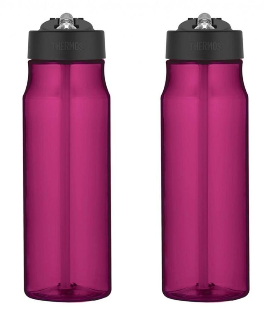 2er Pack Thermos Trinkflasche mit Strohhalm ( Sportflasche aus Tritan mit Trinkhalm, rosa 770ml, Wasserflasche BPA-Frei )