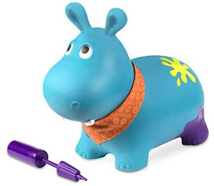 B. toys Hüpftier Hippo mit Handpumpe – ca. 42cm hoch, Aufblasbarer Blauer Hüpfball in Tierform, ab 18 Monaten [Prime Day]
