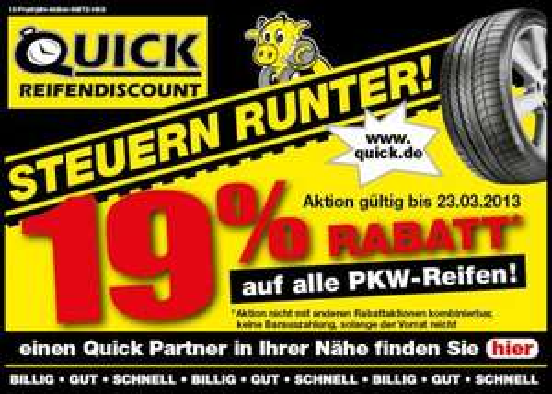 Quick Reifendiscount 19% auf alle PKW-Reifen