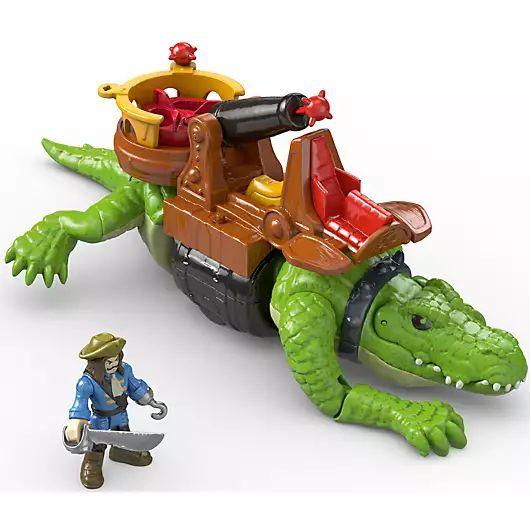 Fisher-Price Imaginext - Laufendes Krokodil & Käpt'n Hook Actionfiguren, mit abschussfähiger Kanone, ab 3 Jahren [Prime Day]