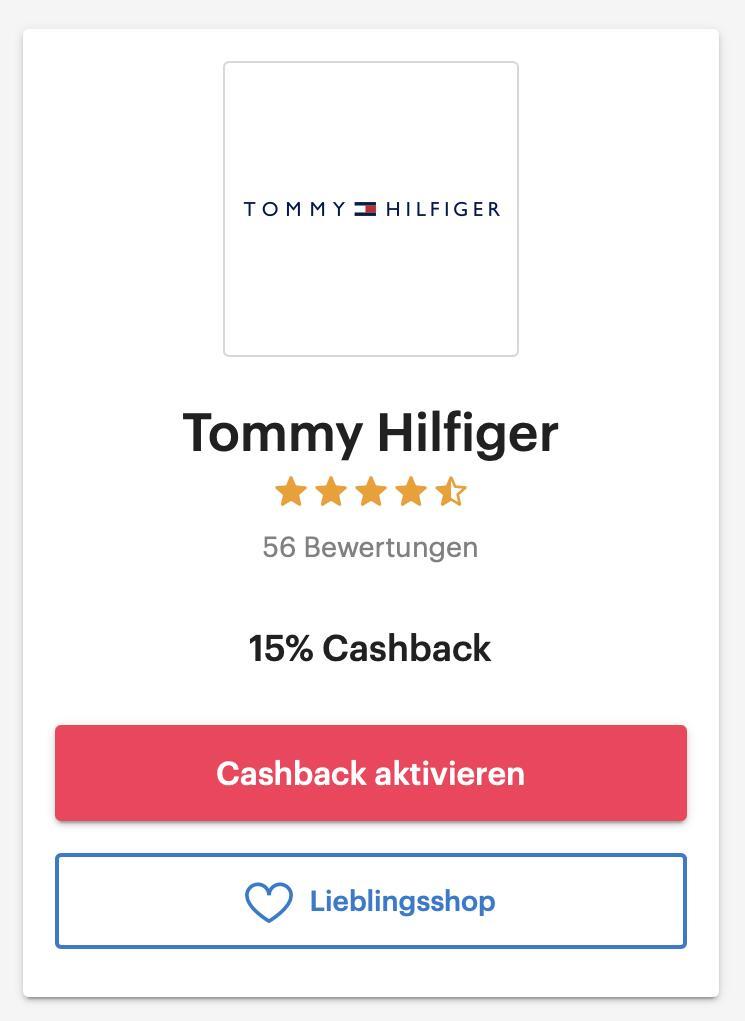 Tommy Hilfiger - 15% Cashback über Shoop