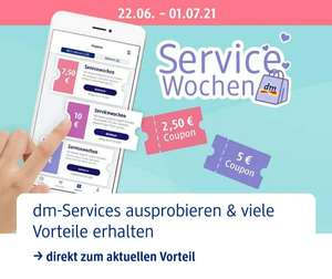 dm - online]: beim (Groß-)Einkauf dm-App nutzen und bis zu 10€ als Gutschein für´s nächste Mal erhalten