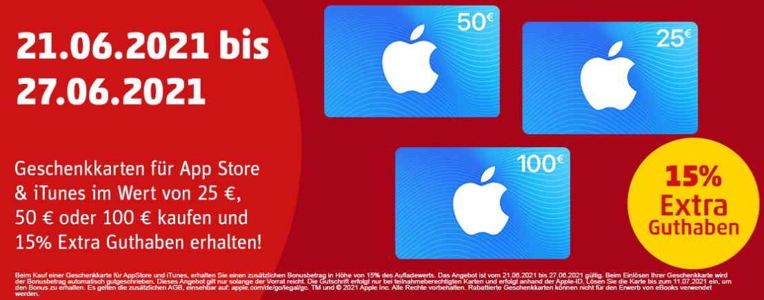 PENNY KARTENWELT: 15% Extra Guthaben für Apple AppStore & iTunes Geschenkkarten