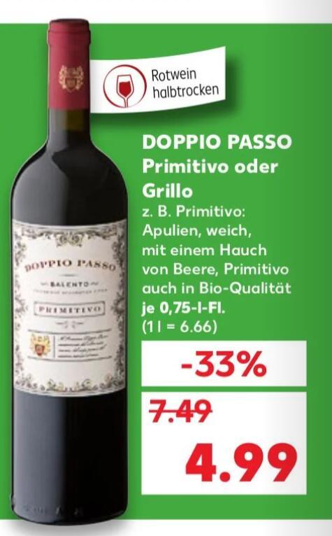 Kaufland Wein Doppio Passo Primitivo oder Grillo (mit und ohne BIO)
