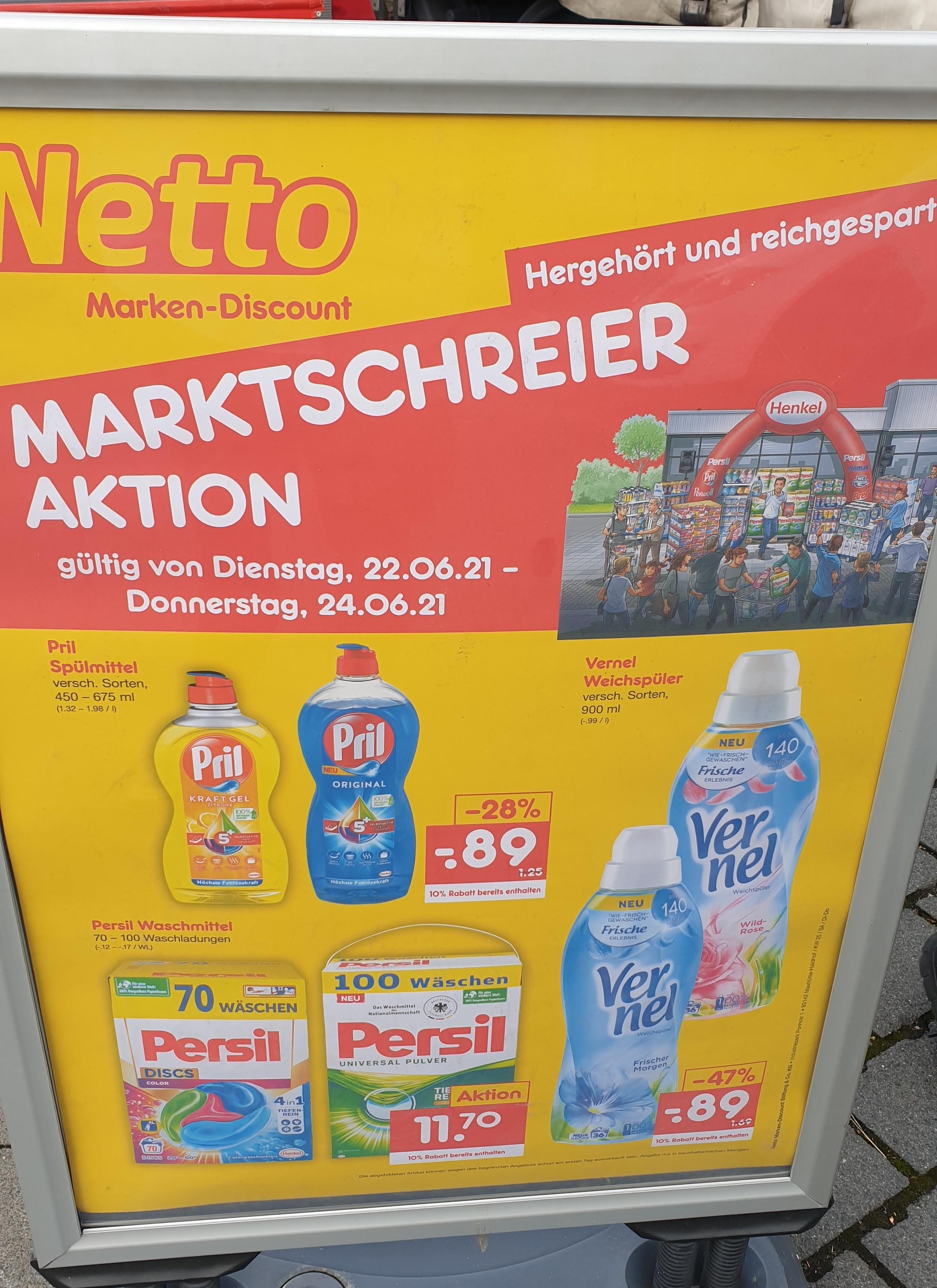 [Lokal- Darmstadt] Persil, Vernel, Pril im Angebot + 10% auf alles im Netto Eschollbrücker Strasse 100