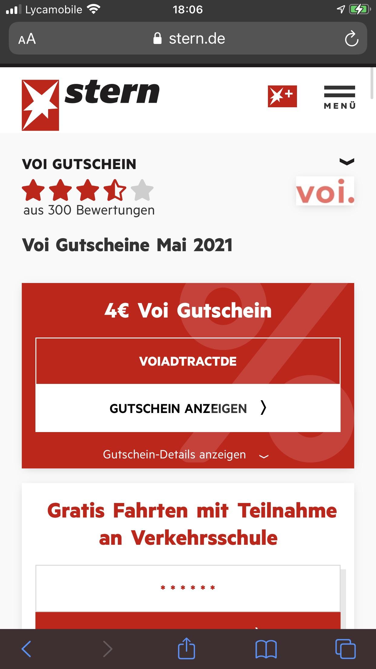 4€ Voi Gutschein