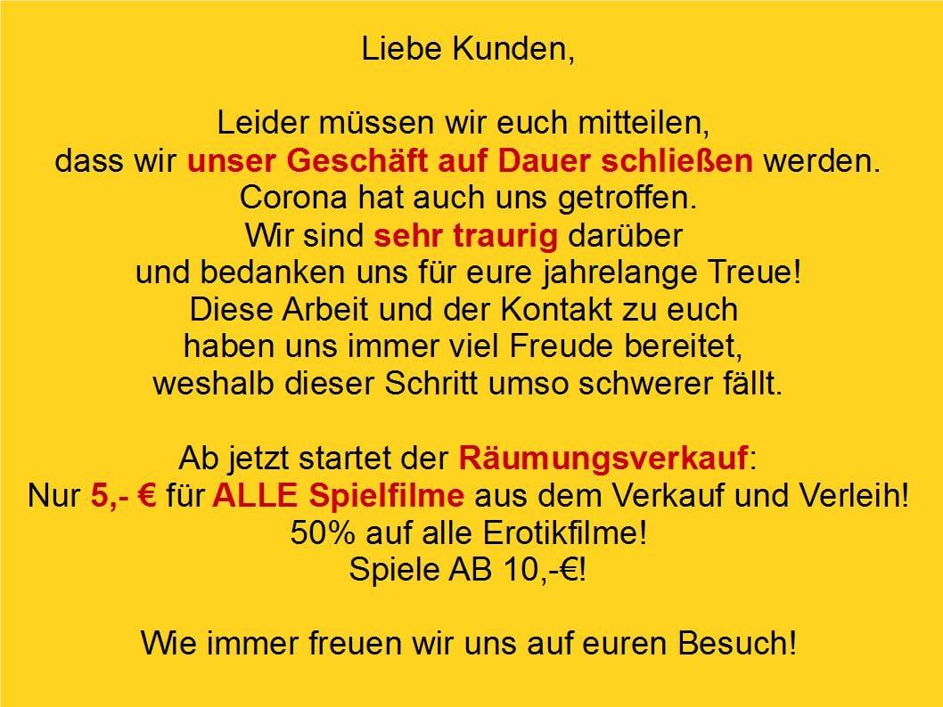"[lokal Dortmund] Abverkauf Videothek ""Videotaxi Media Store"" ehem. Hölscher (Dortmund-City) - 5 Euro pro Film u.a."