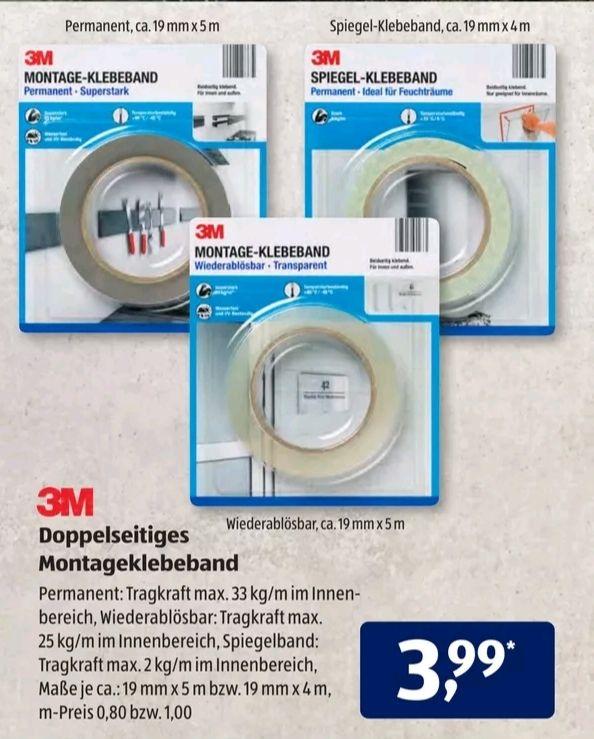 3M Doppelseitiges Montageklebeband in verschiedenen Ausführungen, Aldi Süd ab 08.07.21