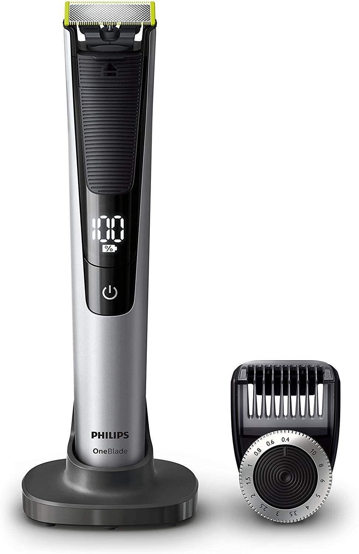 Philips OneBlade Pro QP6520/30 (Barttrimmer, 90 Min. Akku, Ladestation, Reiseetui, LED, 14 Längenstufen)