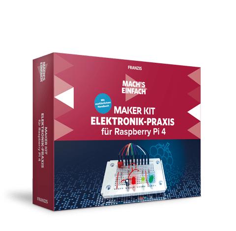 Franzis Maker Kit Elektronik-Praxis für Raspberry Pi 4 (auch für Version 2/3, Raspi nicht enthalten, Bauteile & 160-seitiges Handbuch)