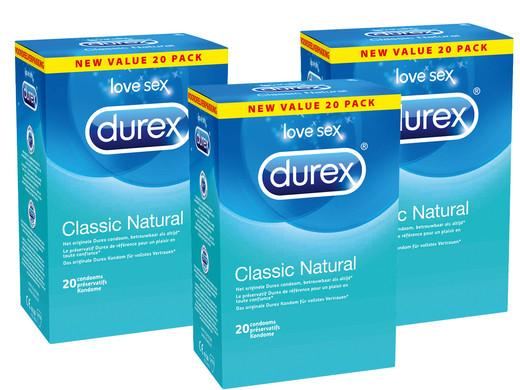 60 Durex Kondome Classic Natural (56 mm Durchmesser, 195 mm Länge)