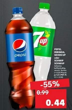 [Lokal Kaufland ehem. Real ab 24.6.] 1,5 Liter Pepsi / Mirinda / 7 Up / Schwip Schwap