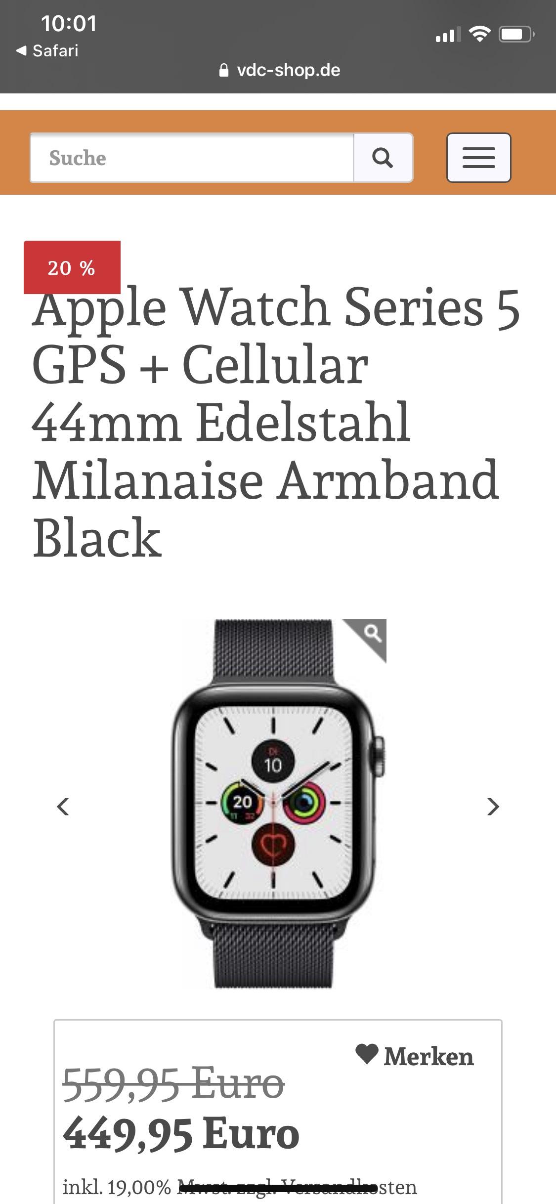 Apple Watch Series 5 GPS + Cellular 44mm Edelstahl Milanaise Armband Black