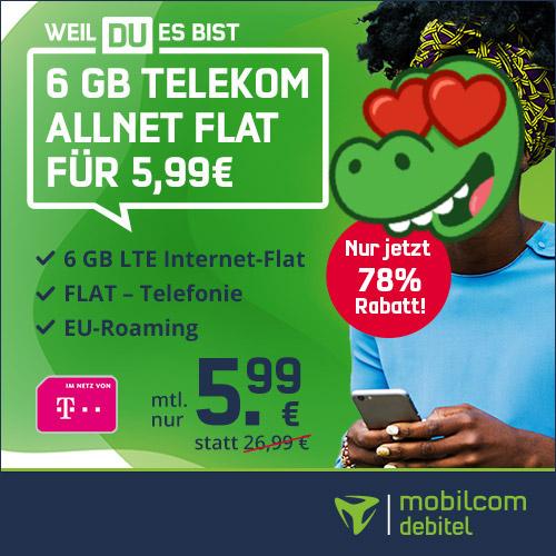 [Telekom-Netz] 6GB green LTE Tarif von Mobilcom-Debitel für 5,99€ / Monat mit VoLTE, WLAN Call & Allnet-Flat