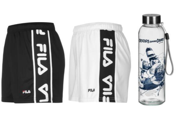 Fila Damen Fiona Shorts + Limitierte Stylefile X Stom500 Red Panda Trinkflasche (500 mL)