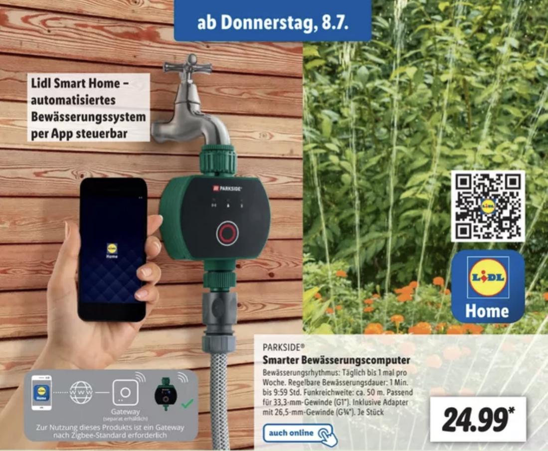 PARKSIDE Smarter Bewässerungscomputer per App steuerbar Zigbee kompatibel für 24,99€