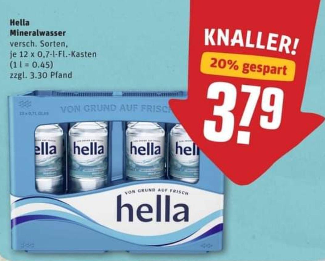 Hella Mineralwasser in Glasflaschen 12 x 0,7l für 1,45€ zzgl. Pfand [nur vom 28.06.-01.07.21] REWE - NICHT BUNDESWEIT