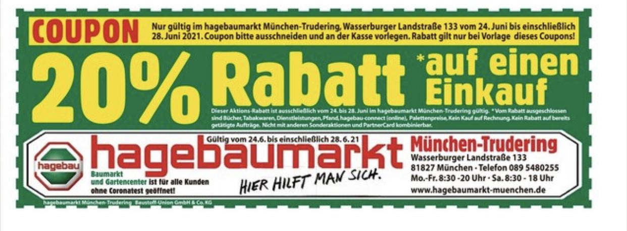 [lokal München] 20% Rabatt auf einen Einkauf bei Hagebaumarkt Trudering