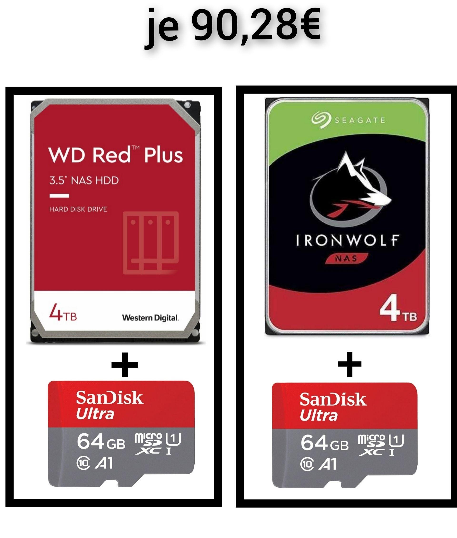 Seagate Ironwolf 4TB (ST4000VN008) oder WD Red Plus 4TB (WD40EFZX) mit 64GB Micro SDXC für je 90,28€ (beide CMR)