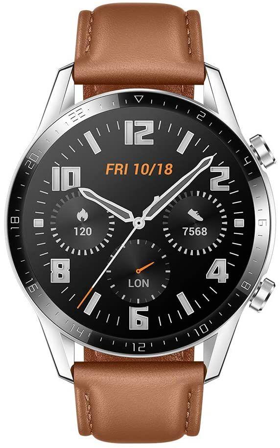 "HUAWEI Watch GT 2 - 1,39"" AMOLED Smartwatch (46 mm Edelstahlgehäuse, Lederarmband, 2 Wochen Akku, GPS, GLONASS, Bluetooth, 15 Sportmodi)"