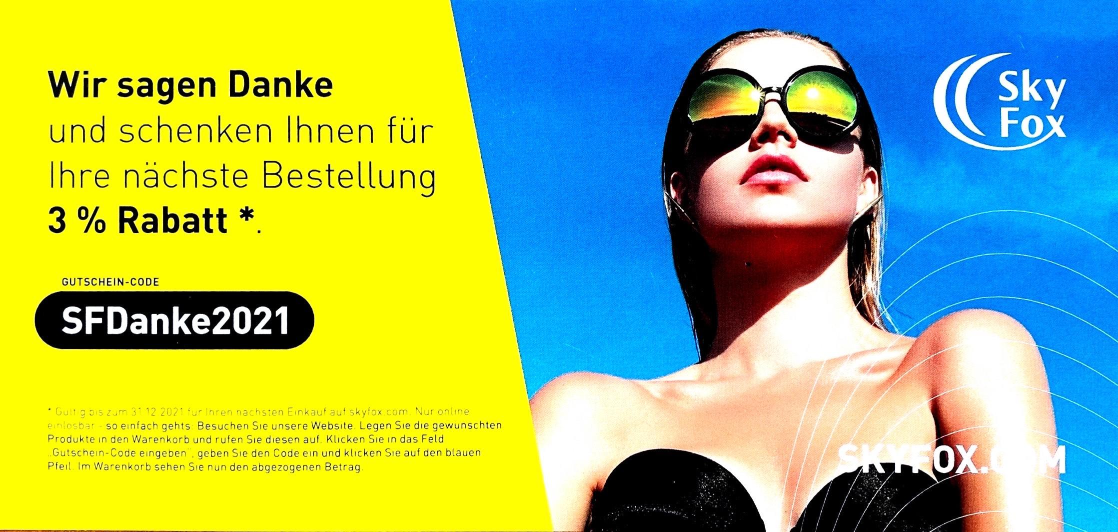 3% Rabatt auf alle Produkte bei Skyfox.com (Luftfahrtbedarf)