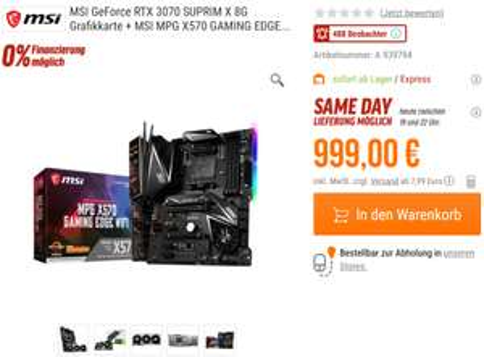 MSI GeForce RTX 3070 SUPRIM X 8G Grafikkarte + MSI MPG X570 GAMING EDGE WI-FI Mainboard Bundle [NBB]