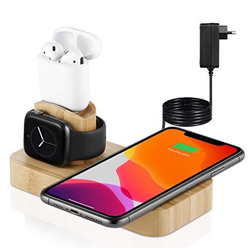[Prime] 4 in 1 Wireless Bamboo Ladegerät Veelink Abnehmbare Schnellladestation kompatibel mit iPhone 12/11 Series/XS MAX/XR/XS/X 8/8 Plus