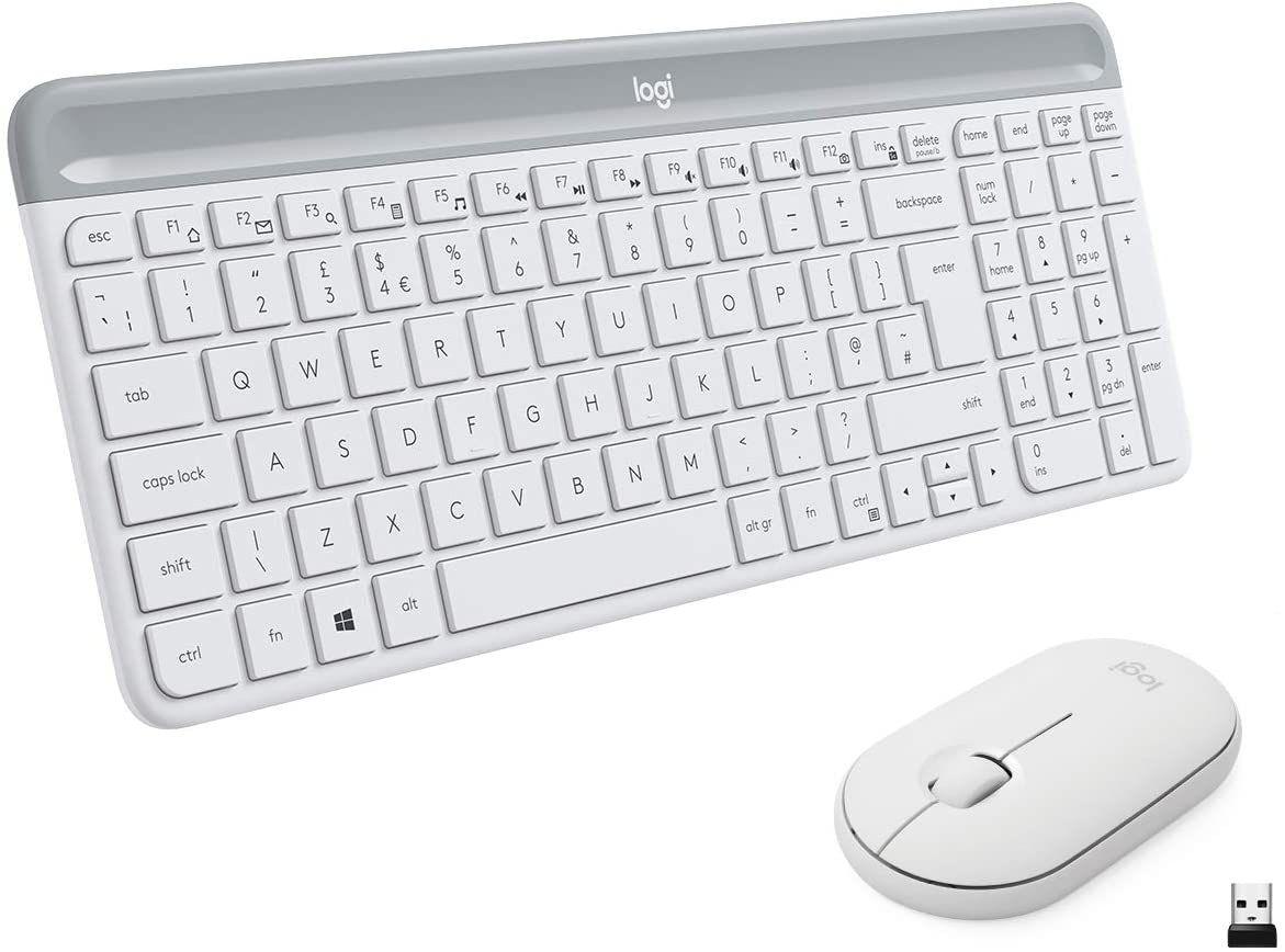 Logitech MK470 Slim Combo Kabelloses Tastatur-Maus-Set, 2.4 GHz Verbindung via Nano-USB-Empfänger, 10m Reichweite
