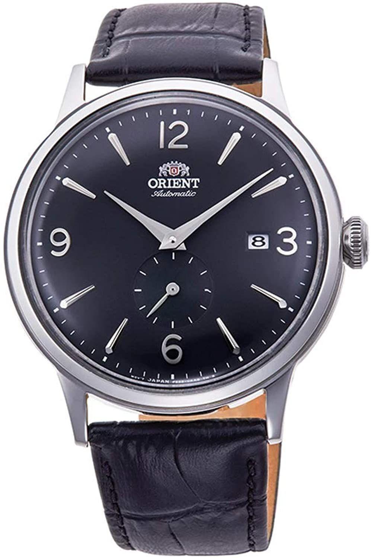 Orient Bambino Automatikuhr (40,5 mm, Edelstahlgehäuse, Lederarmband, Datumsanzeige, wasserfest bis 3 m) Schwarz